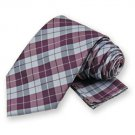 Aubergine Garden Plaid Tie and Pocket Square Set