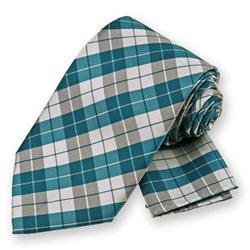 Teal Blue Garden Plaid Tie and Pocket Square Set