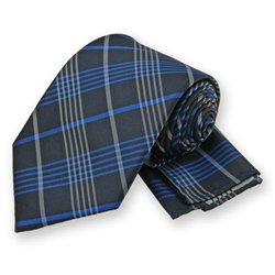 Blue Lennox Plaid Tie and Pocket Square Set
