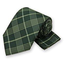 Dark Green Lennox Plaid Tie and Pocket Square Set