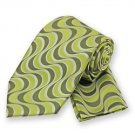 Lime Green Wavy Retro Print Tie and Pocket Square Set