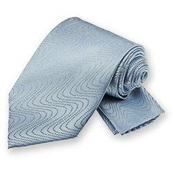 Pale Blue Ombre Wave Tie and Pocket Square Set