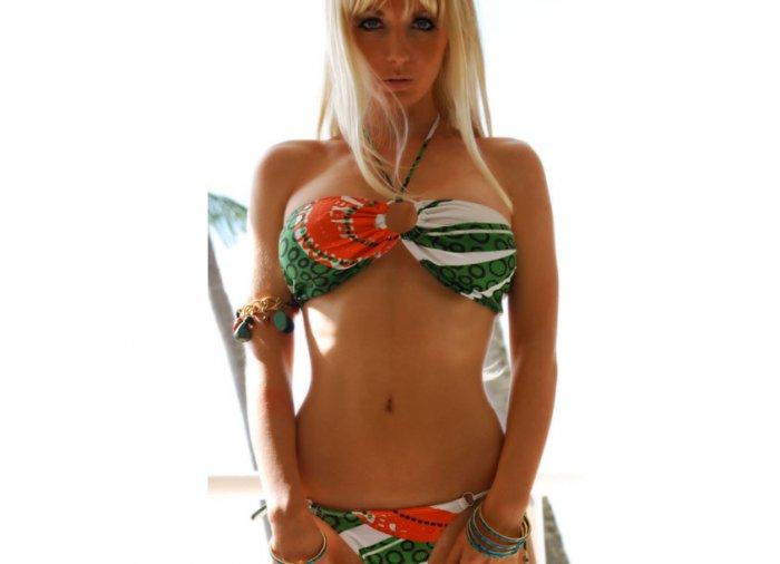 *M* Eye Catching Brazilian Bandeau Bikini Set *NWT* Medium Swimwear Suit*