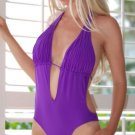 M *HOT Brazilian Monokini* Purple Pleated Bikini One Piece Swimsuit NWT Medium