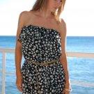 ♡❤S Strapless Chiffon Sheer Black Mini Dress Small❤♡