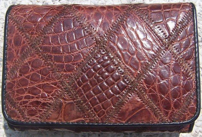 100% Genuine Brown Crocodile 3 Folds Wallet