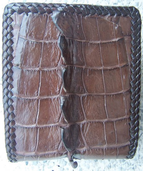 100% Genuine Stitch Edge Big Tail Dark Brown Crocodile skin wallet