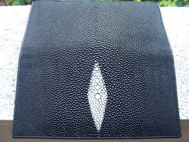 100% Genuine Black Stingray Checkbook Wallet