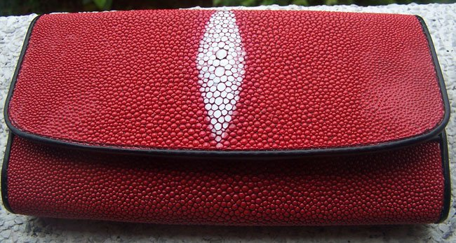 100% Genuine Long Red Stingray Lady Wallet