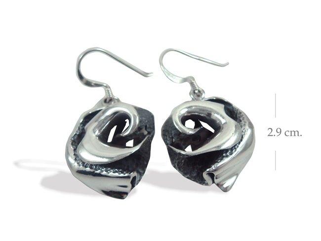 Modern Sterling Silver Rose Dangle earrings