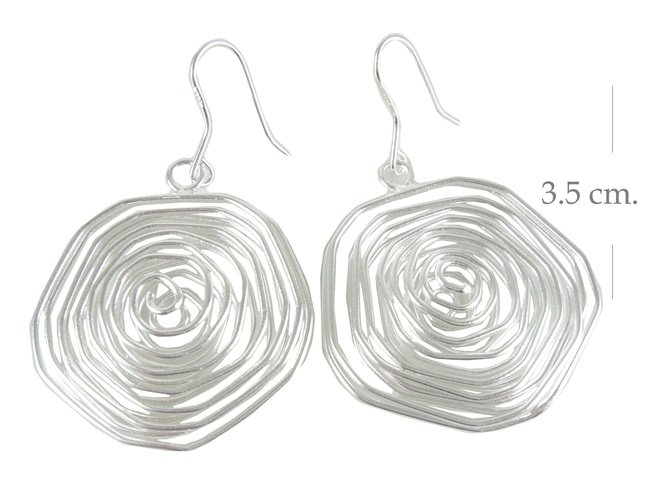 Sterling Silver Round Wavy Wire Dangle Earrings