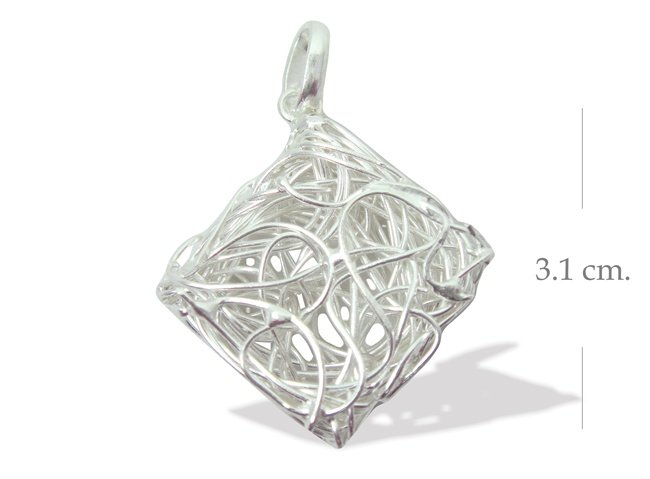 925 Sterling Silver Wire Square Hand Made Pendant