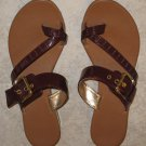 Reddish Brown Toe Slide Sandals Size 8