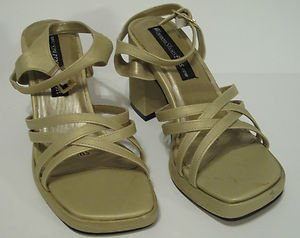 Women's Gold Strappy Sandal Wide Size 5W