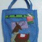 Blue Applique Christmas Theme Gift Bag, Reindeer Print