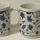Blue Oriental Flower Designed Ceramic Mugs Set of 2