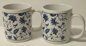 Blue Oriental Flower Designed Ceramic Mugs Set of 2