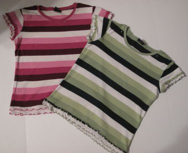 Crew Neck T-Shirts Wide Striped Short Sleeve, Size L (10 - 12), Set of 2
