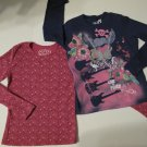 Long Sleeve T-shirts, Fushia with Multi-colored Dots & Dark Blue, L, Set of 2
