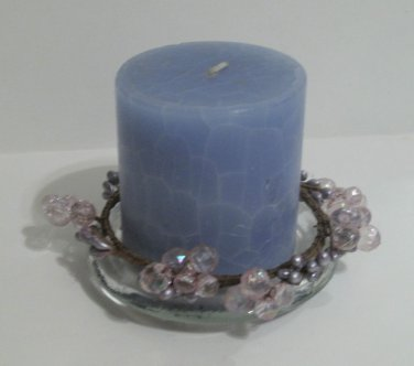 Blue Candle with Candleholder Glass Plate & Decorative Beaded Trim, 3 pc