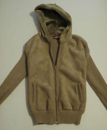 Girls Tan Full Zippered Long Sleeve Hooded Velvet Front Sweater Size L