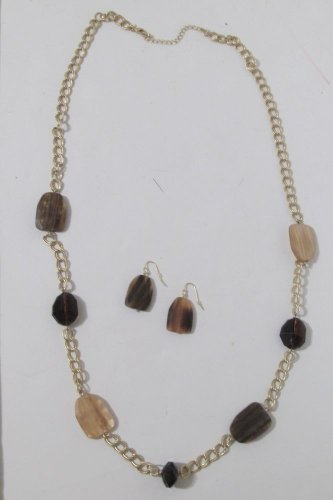 Faceted 15 inch Long Goldtone Nugget Necklace and Earring Set Discontinued Avon