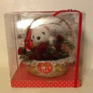 Lace Trimmed Heart Basket with Small White Plush Toy Bear and Red Roses