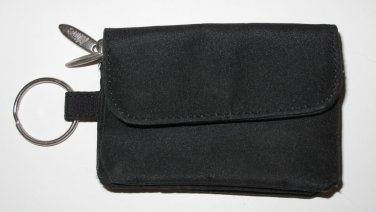 Black Zippered Change Purse with Attached Key Ring and Exterior Pocket