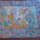 Vintage Gerber Multi-colored Reversible Baby Blanket Showing Playing Bears