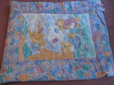 Vintage Gerber Multi-colored Reversible Baby Blanket Showing Playing Bears