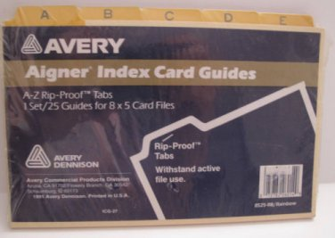 Laminated Tab Index Card Guides 8 x 5, A-Z Vintage