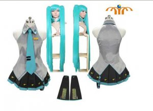 Miku Hatsune Cosplay Costume 2, With Wig, Any Size!