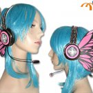 Miku Hatsune Headphones Cosplay Accessory, Pink Butterfly!