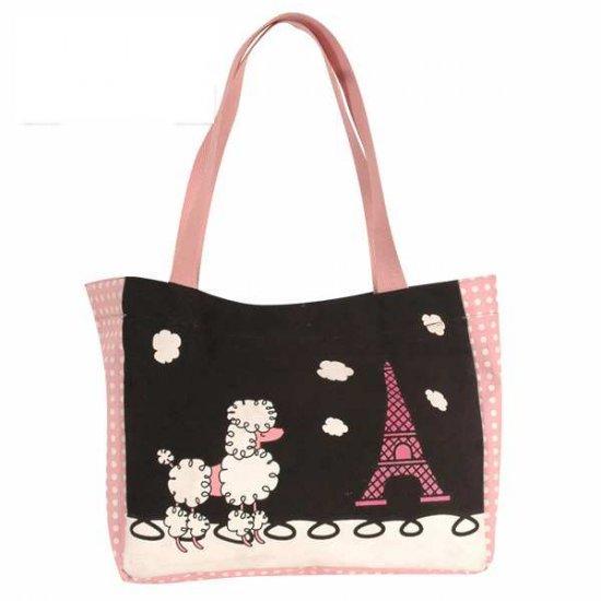 Canvas Handbag - Printed Poodle Design