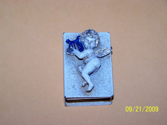 Vintage Match box holder, Cherub with Original Sticker on back.
