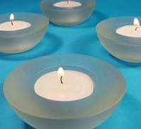 6 pack Frosted Round Tealight Holders