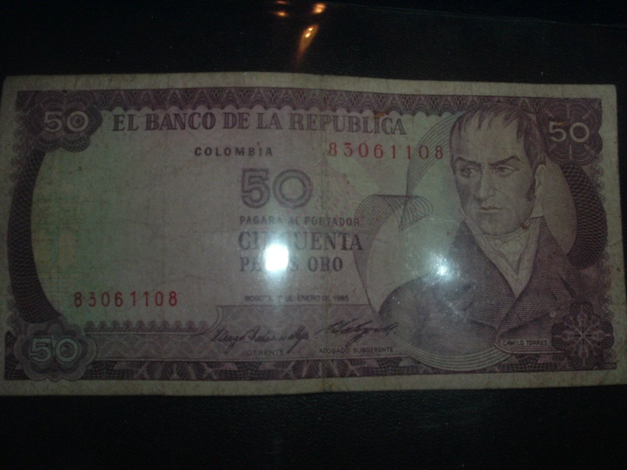 Cincuenta Pesos Oro  (GOLD) Circulated Colombian Paper Money