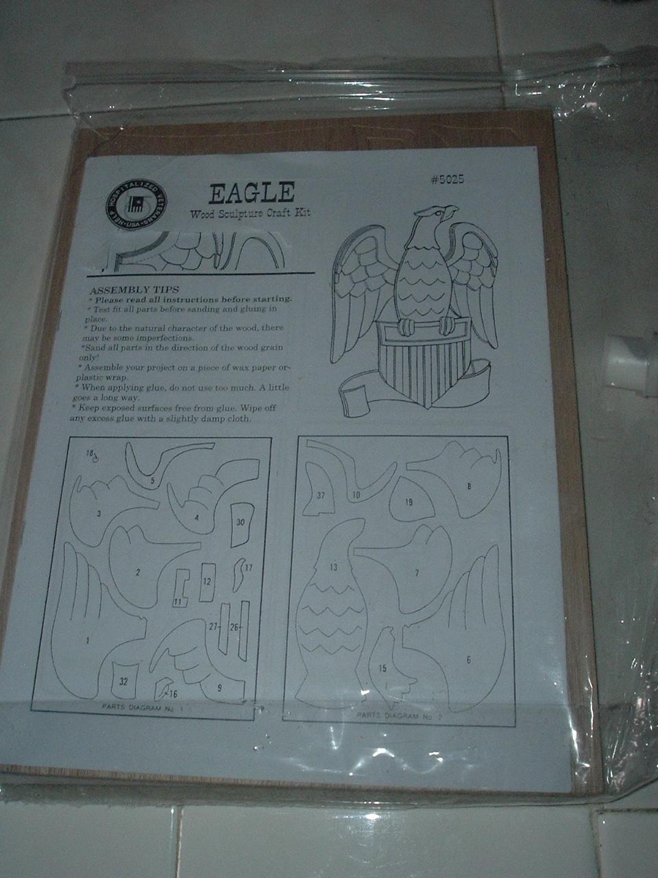 Eagle Wood Sculpture Craft Kit. - New