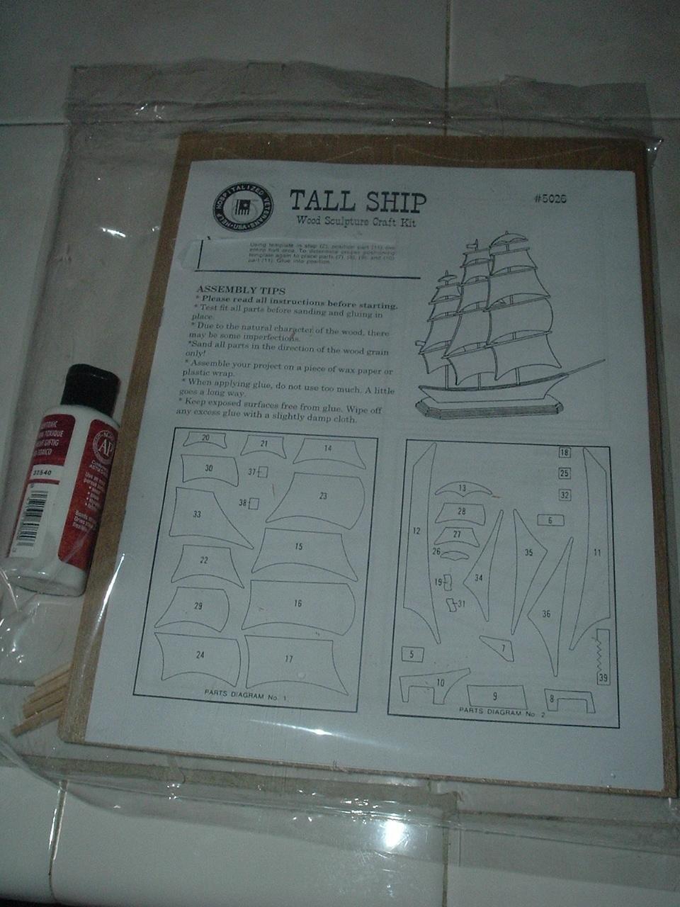 Tall Ship Wood Sculpture Craft Kit - New