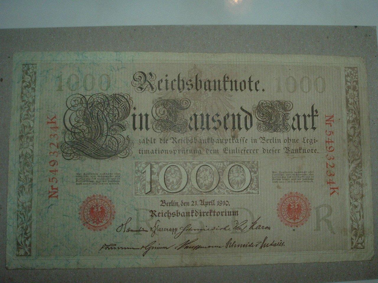 1000 German Reichsbanknote Marks Paper Money