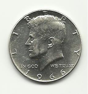 1966 #1 Unc. Silver with full Mint luster Kennedy Half Dollar