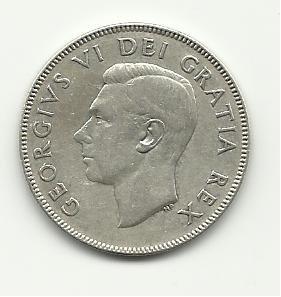 1949 #1  Silver Canadian Half Dollar