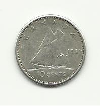 1963 #1  Silver Canadian Dime