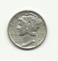 1945 #1  Silver Mercury Dime