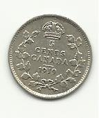 1919 #2 .925 Sterling Silver Canadian 5 cents