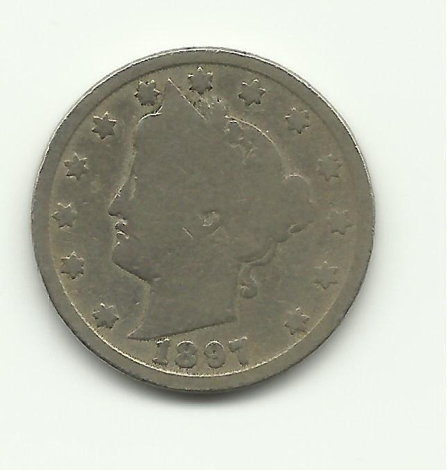 1897 #5 V Nickel