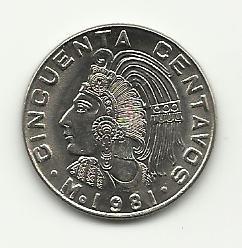 1981 Unc. Mexican 50 Centavos