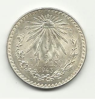 1943 #5  Unc. Mexican Un Peso Silver.