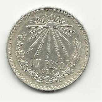 1933 #5  Mexican Un Peso Silver Dollar