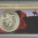 1968 Mexico 25 Peso Silver Olympic Games